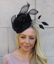 Black Rose Floral Flower Feather Lace Sinamay Hat Fascinator Races Wedding 5929