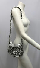 VINTAGE SILVER METAL CHAIN LINK PURSE HEAVY VERY WELL MADE SHOULDER BAG