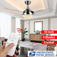 """44"""" LED Crystal Invisible Ceiling Fan Lamp Remote Control Chandelier Home Decor"""