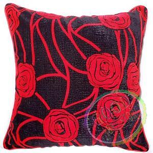 UF11a Red Rose on Black Velvet Style Cushion Cover/Pillow Case *Custom Size*