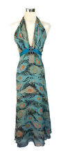 RAZAK Dress - 100% Silk Peacock Print Maxi Turquoise Black Orange Boho Hippy - 8