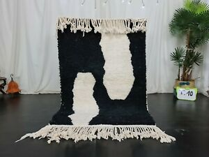 Moroccan Handmade Beni Ourain Rug 3'6x5'2 Berber Abstract White Black Wool Rug