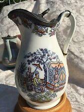 J1~Antique old English Pitcher with pewter lid & Oriental transfer ware