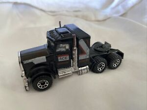 1983 Matchbox: Black Peterbilt Ace Semi-Truck Diecast