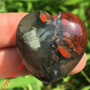 1pc natual Blood stone heart Quartz Crystal pendant hand carved healing 30mm