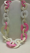 100% Buffalo horn  designer pink tan lacquered chunky link statement necklace
