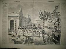 TRAIN INAUGURATION CHEMIN DE FER DE TOULOUSE A CETTE ET DE RENNES GRAVURES 1860