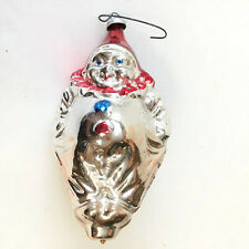 "Vintage Christmas Ornament Clown  Figural Mercury Glass W. Germany Blown 4.5"""