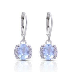AAA+ Natural Aquamarine Oval Earrings Pair 925 Silver Handmade Lever Back Hooks