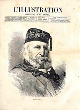 Portrait Général Giuseppe Garibaldi père de la patrie Italie Italia GRAVURE 1882