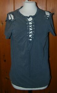 Boohoo, Ladies, Retro, Casual, Grey, Laced, T-shirt, Top, size 12-14 (42)