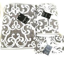 TAHARI WHITE+GREY,GRAY SWIRL PATTERN COTTON BATH,2 HAND TOWEL,OR 2 FINGERTIP