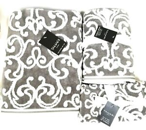 TAHARI WHITE+GREY,GRAY SWIRL PATTERN COTTON BATH,2 HAND TOWEL,OR 2 FINGERTIP