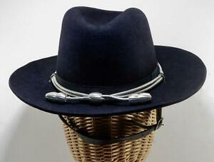 Dark Blue Western Style Hat Silver Cord & Acorns Sheriff State Police Trooper  7