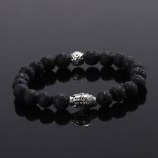 DF9 Natural Lava Stone Beads Black & Silver Buddha Stretch Bracelet