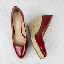 Via Spiga Espadrille Wedge Pumps sz 9 Red Pointed Toe Patent Leather Shiny VLV