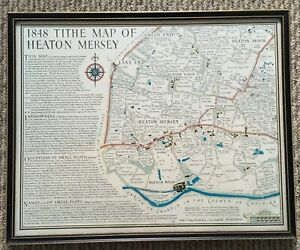"""Framed TITHE MAP 1848 of HEATON MERSEY Size 16"""" x 13"""""""