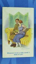 WW1 Donald McGill Military Comic Postcard Soldier Sweetheart IN A TIGHT CORNER