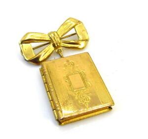 Vintage Gold Tone Book Locket Brooch Pin