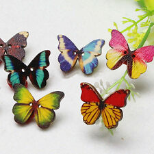 50pcs 2 Holes Colorful Butterfly Phantom Wooden Sewing Buttons Scrapbooking DIY