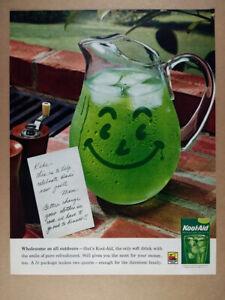 1962 Kool-Aid lime smiling pitcher photo vintage print Ad
