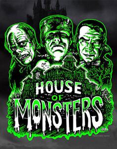 HOUSE OF MONSTERS Art Print Poster classic horror movie art Scott Jackson