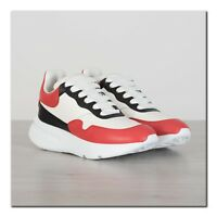 ALEXANDER MCQUEEN 590$ New Oversized Sneakers In White, Red & Black Leather