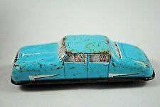 Vintage GLAM Toy GTP-570 Tin Plate Blue SALOON Car w/ Passengers Made in England