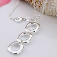 ASAMO Damen Halskette 3 Vierecke 925 Sterling Silber plattiert H1053