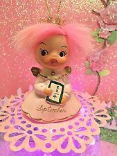 Vtg Napco Pink September Christmas Angel Ornament W Pink Crown Pink Fur Hair