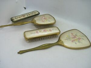Vintage brush and mirror set - brass handles embroidered faces