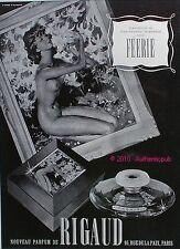 PUBLICITE PARFUM RIGAUD FEERIE TABLEAU FEMME NUE J.G. DOMERGUE DE 1938 FRENCH AD
