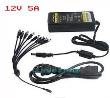 12V 5A 60W DC Power Supply Plug Adapter w/ 8 way for CCTV Camera & LED Light