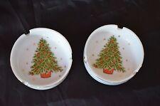 Set of Two Vintage 3-1/2'' Round Christmas Tree Ashtray With Gold Trim