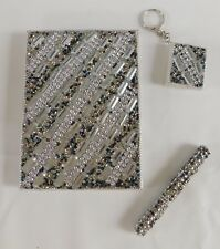 Handcrafted Silver Beaded Journal / Diary with Pen & Keychain