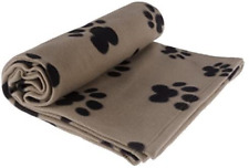 """Rza Pet Blanket Large for Dog Cat Animal 60"""" x 40"""" Inches Fleece Black Paw Print"""