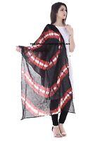 Indian Cotton Red & Black Dupatta Ladies Wear Bandhej Scarf Neck Wraps Hijab