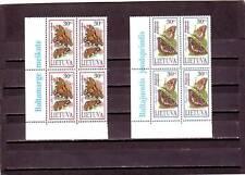 LITHUANIA - SG592-593 MNH 1995 BUTTERFLIES - BLOCKS OF 4