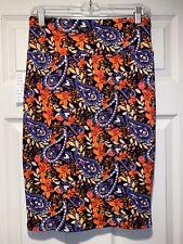 NWT Lularoe Cassie Pencil Skirt Small S Orange Purple Paisley