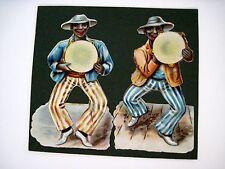 Vintage Die Cuts Two Black Men Shacking Tambourines Dressed in Striped Pants N*