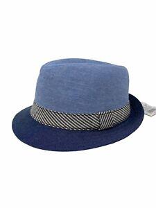 Baby Cat & Jack Blue Chambray Fedora Hat Brim Stripe Size 6-12 M Flaws