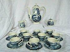 Service à café en faïence anglaise The Hunter by Myott décor bleu 10 tasses