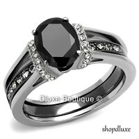 2.50 CT OVAL CUT CZ BLACK STAINLESS STEEL WEDDING RING SET WOMEN'S SIZE 5-11