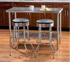 Set of 2 Classic Chrome American Swivel Bar Height Stool Padded Chair Retro Shop