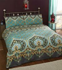 Single Bed Duvet Cover Set Asha Emerald Green Gold Black Moroccan Style Bedding