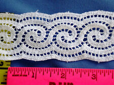 "Double Scalloped Lace Trim Crochet Lace Cotton Cluny Lace 1-3/4"" White 5 yd #W44"