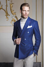 Mens Blue Double Breast Wedding Jacket Groomsman Outfit Dinner Party Coat Blazer