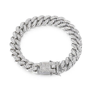 Silver Cuban Iced Out Chain Heavy Bracelet