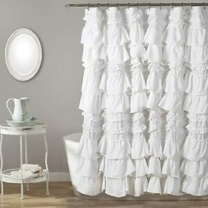 "Lush Decor, White Kemmy Shower Curtain, 72"" x 72"""