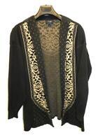 KRISS Sweden XL Black Brown Cardigan Sweater Cotton Knit Open Front Swedish XL
